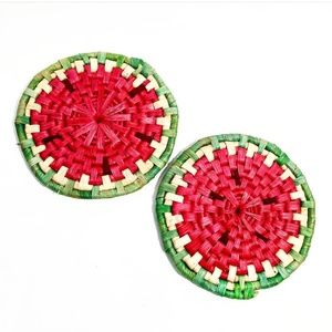 Vintage Woven Watermelon Coasters Set